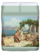 Figures On A Terrace In Capri  Duvet Cover