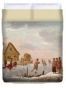 Figures Skating In A Winter Landscape Duvet Cover by Hendrik Willem Schweickardt