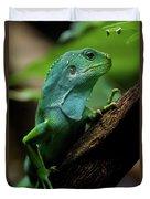 Fiji Iguana In Profile On Tree Branch Duvet Cover