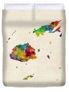 Fiji Watercolor Map Duvet Cover