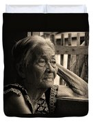 Filipino Lola Image Number 33 In Black And White Sepia Duvet Cover