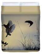 Finches Silhouette With Leaves 5 Duvet Cover