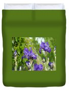 Fine Art Floral Prints Purple Iris Flowers Canvas Irises Baslee Troutman Duvet Cover