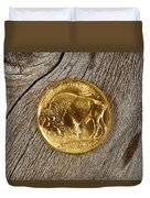 Fine Gold Buffalo Coin On Rustic Wooden Background Duvet Cover