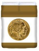 Fine Gold Buffalo Coin On White Background  Duvet Cover