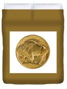 Fine Gold Buffalo Gold Coin On White Background  Duvet Cover