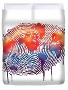 Finger Print Map Of The World Duvet Cover
