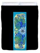 Finished15 Ink Drawing Handtowel Series W Black Background Duvet Cover