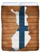 Finland Rustic Map On Wood Duvet Cover