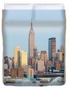 Fire Boat And Manhattan Skyline IIi  Duvet Cover