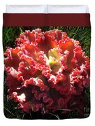 Fire Color Succulent. Curly Plant, Exotic Duvet Cover