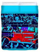 Fire Engine Red In Blue Duvet Cover