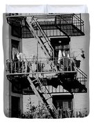 Fire Escape With Clothes Hung To Dry Duvet Cover