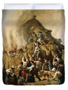 Fire In A Haystack, 1856 Duvet Cover