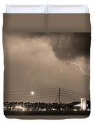 Fire Rescue Station 67  Lightning Thunderstorm Sepia Black And W Duvet Cover