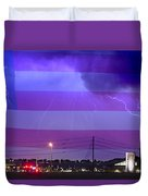 Fire Rescue Station 67  Lightning Thunderstorm With Usa Flag Duvet Cover