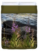 Fire Weed Looking At Lake Superior Duvet Cover