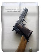 Firearms 1917 Colt Model 1911 Semi Auto 45cal With Shoulder Stock Duvet Cover