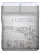 Firearms Lever Action Rifle Drawing Duvet Cover