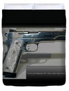 Firearms Smith And Wesson 1911 Semi Auto 45cal Pearl Handle Pistol Duvet Cover