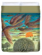 Firebirds At Sunset Duvet Cover