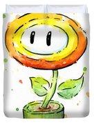 Fireflower Watercolor Duvet Cover