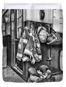 Fireman - Always Ready - Black And White Duvet Cover