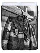 Fireman - Saftey Jacket Black And White Duvet Cover