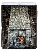 Fireplace At The Lodge Vertical Duvet Cover