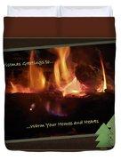 Fireside Christmas Greeting Duvet Cover