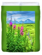 Fireweed In The Foreground 2 Duvet Cover
