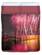Fireworks And Waterfall Duvet Cover