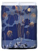 Fireworks In Venice Duvet Cover by Georges Barbier