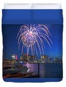 Fireworks Over The Boston Skyline Boston Harbor Illumination Streaming Down Duvet Cover