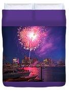 Fireworks Over The Boston Skyline Boston Harbor Illumination Duvet Cover