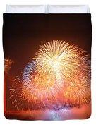 Fireworks Over The Golden Gate Bridge Duvet Cover