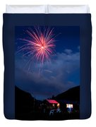 Fireworks Show In The Mountains Duvet Cover