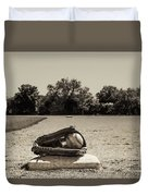 First Base In Sepia Duvet Cover