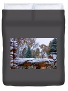 First Colorful Autumn Snow Duvet Cover