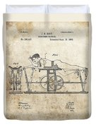First Exercise Machine Patent Duvet Cover