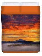 First Light On Mount Hood During Sunrise Duvet Cover