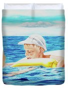 First Swimming - Nadar Primero Duvet Cover