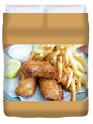 Fish And Chips On A Plate Duvet Cover