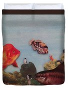 Fish Eating Cats. Duvet Cover