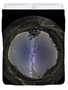 Fish-eye Panorama Of Milky Way Over Red Duvet Cover