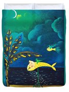 Fish Riding A Unicycle Duvet Cover