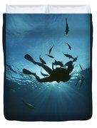 Fish Swim Around A Diver In The Cayman Duvet Cover