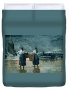 Fisher Girls By The Sea Duvet Cover by Winslow Homer