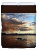 Fisherman At Sunset On Lake Titicaca Duvet Cover