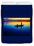 Fisherman Boat On Summer Sunset, Travel Photo Poster Duvet Cover